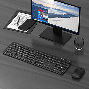 ergonomic rechargeable wireless keyboard mouse black (1)