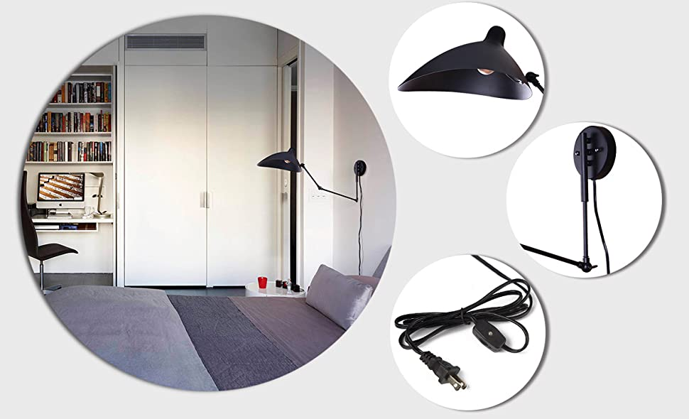 Laluz Adjustable Wall Sconce Plug In Indoor Wall Lamps