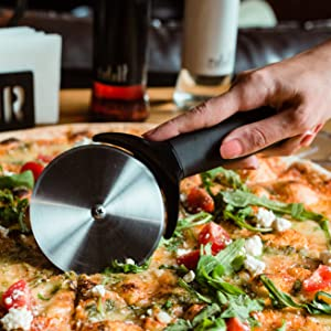 improved durable pizza cutter with razorsharp wheel blade for extra easy and comfort cutting