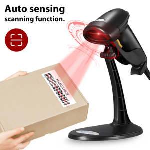Esky USB Automatic Barcode Scanner Scanning Reader Wired Handheld/Handfree  1D Laser Bar Code USB Wired for POS System Sensing and Scan Black with