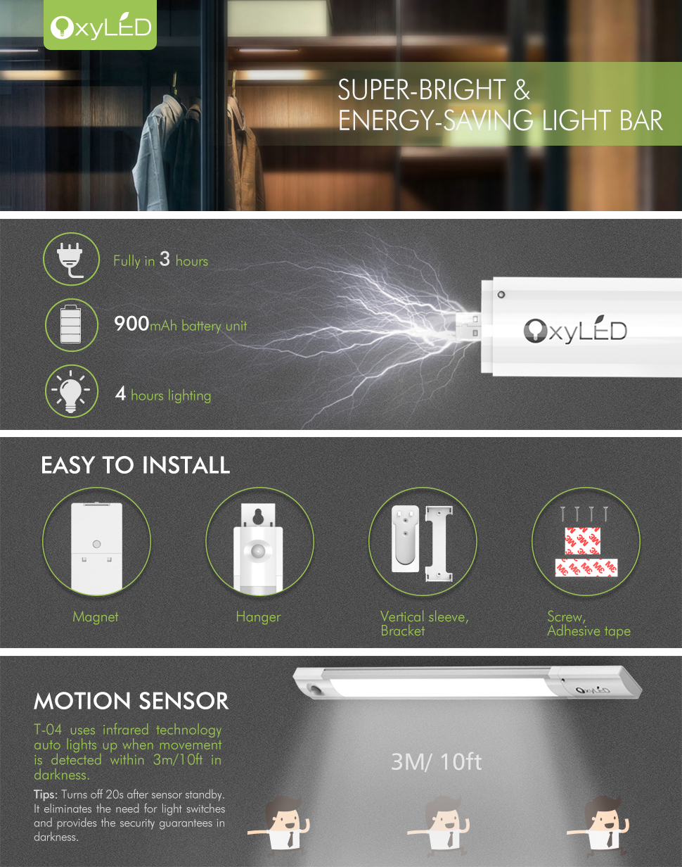 USB Rechargeable Night Light | OxyLED OxySense T 04 Motion Activated 25 LED  Bar Light With Detachable Battery For Cabinet/ Closet, 5 Mounts, ...