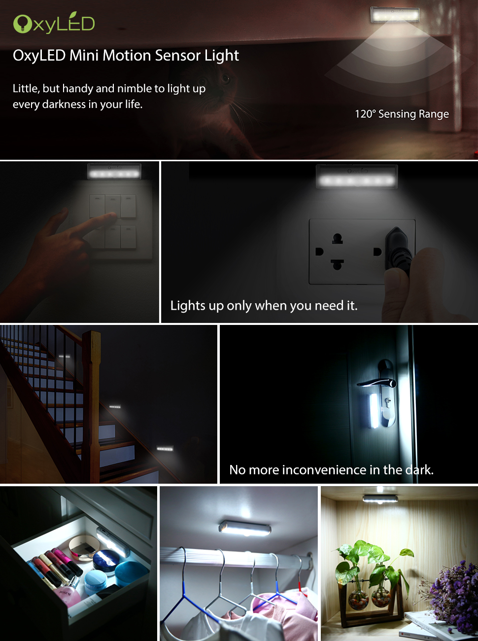 OxyLED Motion Sensor Lights, Mini Size With 6 LED Night Light For Closet  Cabinet Wardrobe Ambry Cupboard Drawer Stairs Step, Stick On Safe Lights  Bed Light, ...