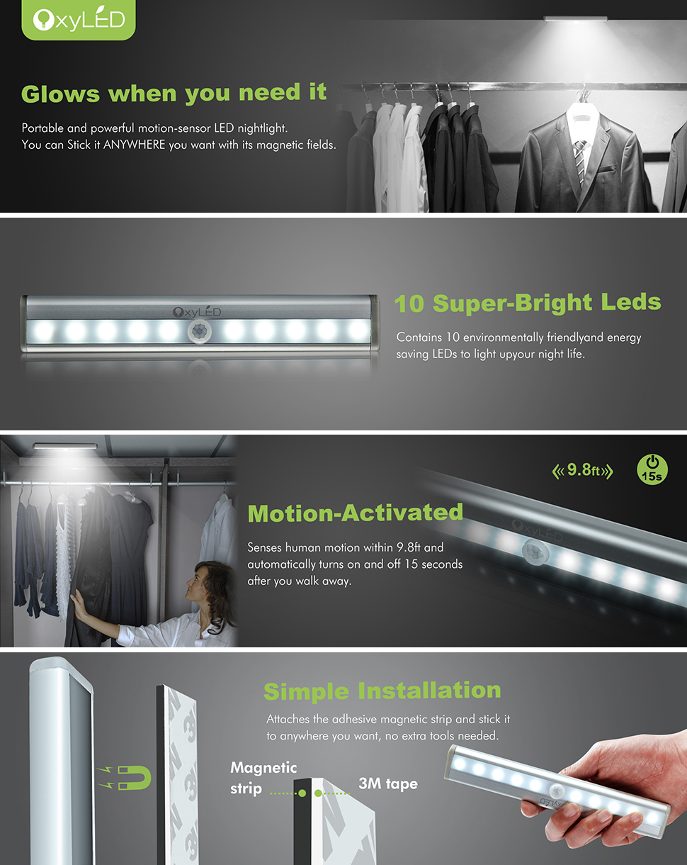 OxyLED Motion Sensor Closet Light  DIY Stick On Anywhere Portable 10 LED  Wireless Cabinet Night/ Stairs/ Step Light Bar With Magnetic Strip