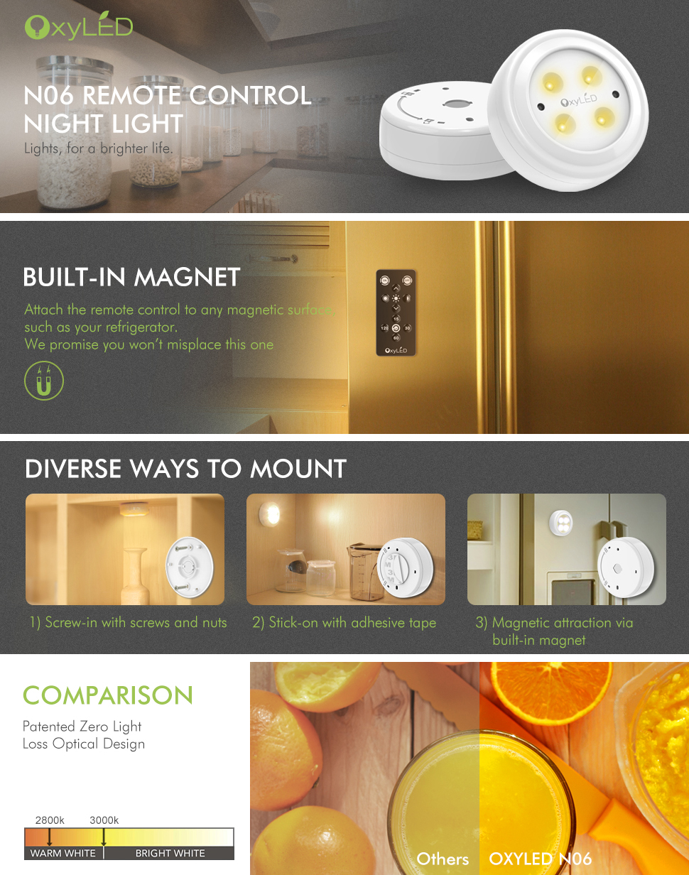 Wireless led puck lights oxyled closet light cordless battery wireless led puck lightsoxyled closet lightscordless battery powered led night light with remote controlstick anywhere stair lights safe lights for aloadofball Choice Image
