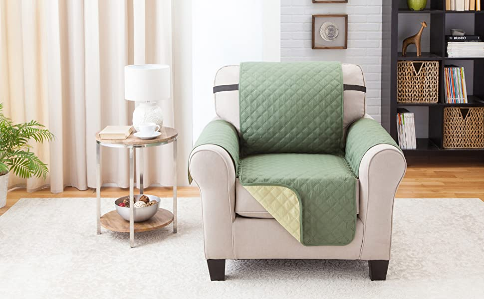 Deluxe Reversible Chair Furniture Protector, Olive / Sage -75