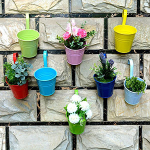 8pcs/lot Metal Iron Flower Pot Balcony Garden Plant Planter