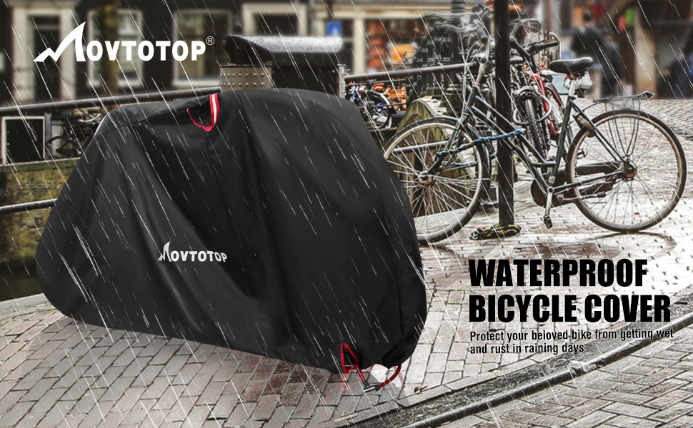 Protect Bike from Rain UV Snow Dust Bicycle Cover Waterproof for Outdoor Storage 29IN Heavy Duty 210D Oxford Bike Outdoor Cover Black MOVTOTOP Bike Cover
