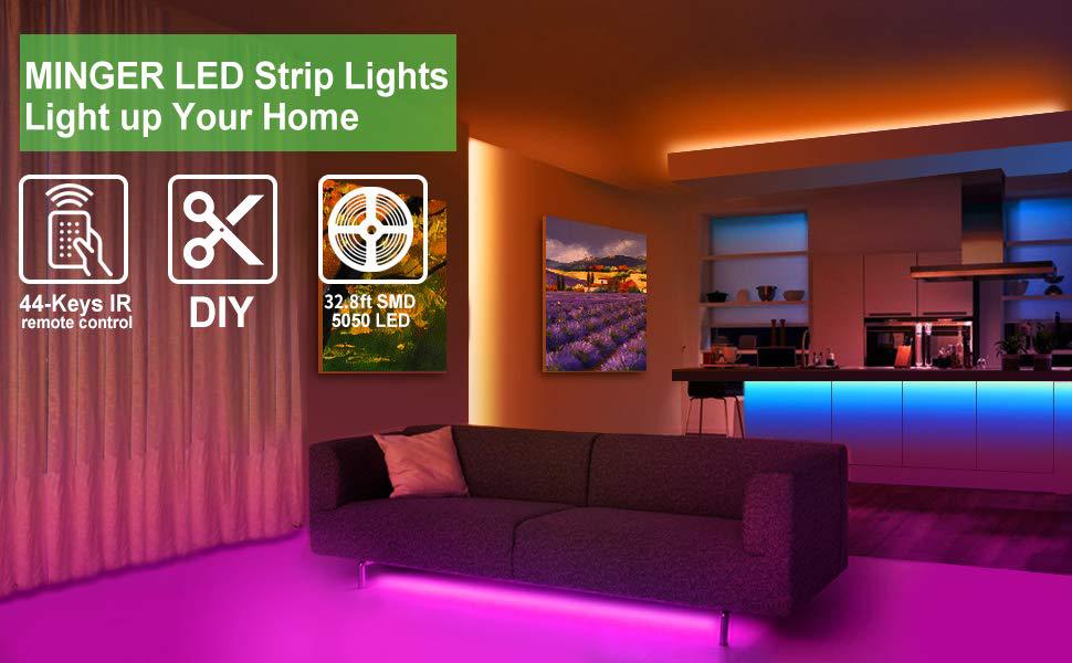 Amazon Com Minger Led Strip Lights Kit 32 8ft Rgb Color Changing Led Lights For Room Bedroom Home Kitchen Cabinet Party Decoration With Ir Remote 5050 Leds Diy Mode Non Waterproof 2 Rolls Of 16 4ft