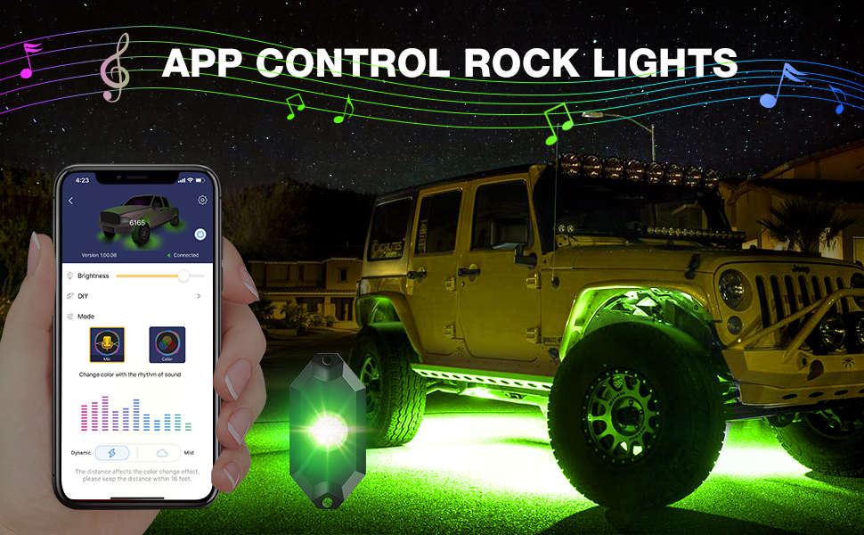 Multicolor Lightning Pods Kit for Underglow Off Road Truck JEEP UTV ATV SUV Auto Scroll Modes Flashing Z-Force Patent Pending Design Xprite 8pc RGB LED Rock Lights with Wireless Remote Control