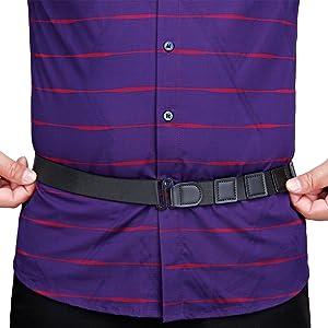 Men Shirt Stays Shirt Lock Belt Adjustable Elastic Shirt Holder Keeps Shirt Tucked in for  Military