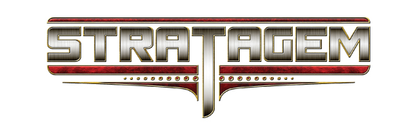 The logo for Stratagem, a premiere brand for wargaming and tabletop gaming accessories.