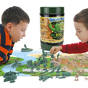 Kids playing with Army Men