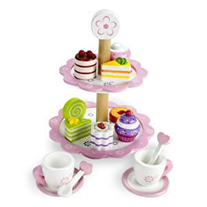 Wooden Tea Party Tower with wooden food.