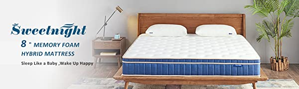 Sweetnight 8 Inch Full Size Mattress - Individually Pocket Spring Hybrid Mattress in a Box, with CertiPUR-US Certified Gel Memory Foam Euro Pillow Top ...
