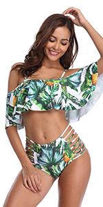 3c62a876a97744 V Neck High Waisted Ruffle Bikini Set · Pom Pom Trim Swimwear · Ruffle  Halter Backless Bikini · Flounce Off Shoulder Tropical Printed Bikini Set  ...