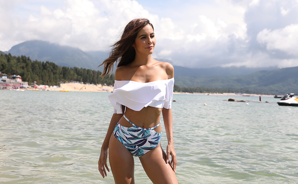 c2e44867e93 Women Two Piece Off Shoulder Ruffled Flounce Crop Bikini Top – Sunysn