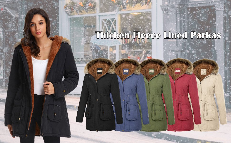 4b0d0da9697e GRACE KARIN Women's Warm Winter Fleece Parkas Anoraks Hooded ...