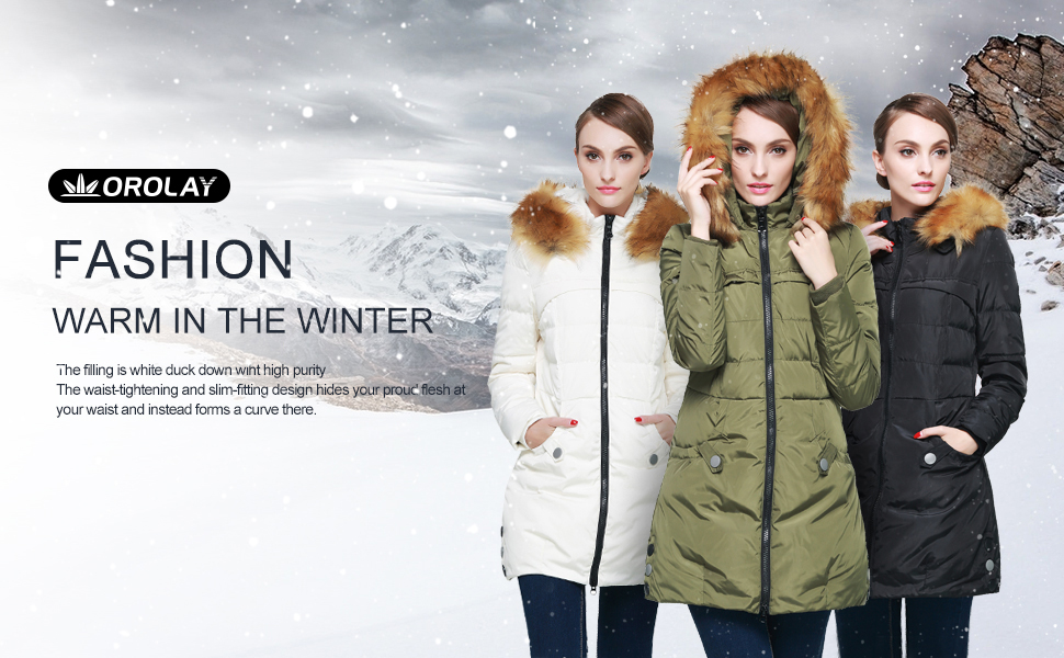 003d3c49335 Amazon.com  Orolay Women s Down Jacket with Faux Fur Trim Hood  Clothing
