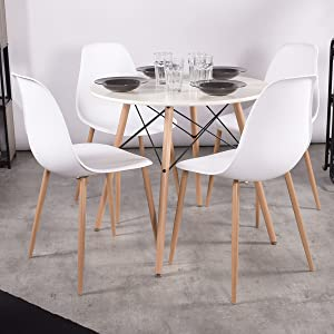 Details about Dining Chairs Set of 4 Mid Century Modern Plastic Seat Back  Kitchen Room Chairs