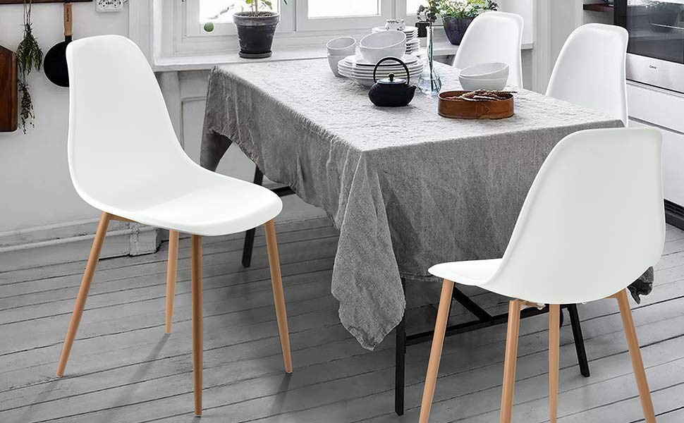 GreenForest Dining Chairs Set of 4, Mid Century Modern Kitchen Chairs  Plastic Seat and Back Side Chair with Metal Legs, White