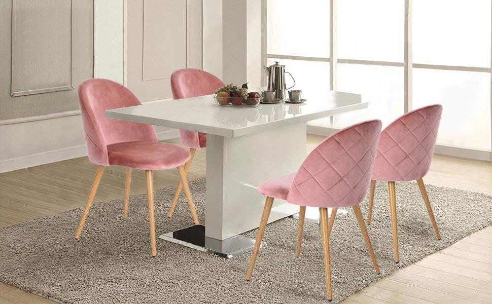 Amazon Com Greenforest Velvet Dining Chairs Mid Century