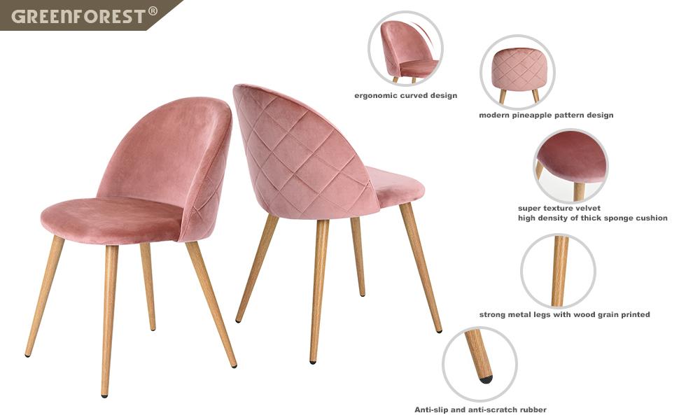greenforest living room leisure chair wood legs velvet fabric cushion seat mental. Black Bedroom Furniture Sets. Home Design Ideas