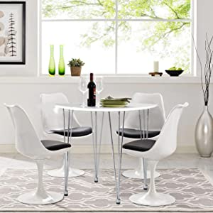 GreenForest Round Dining Table Modern Metal Craft Legs Pedestal Leisure  Table, White