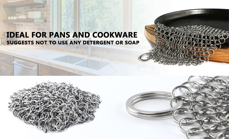 Cast Iron Cleaner,Stainless Steel Chainmail Scrubber ...
