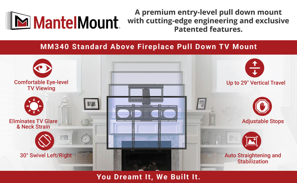 Astounding Mantelmount Mm340 Above Fireplace Pull Down Tv Mount Download Free Architecture Designs Ogrambritishbridgeorg