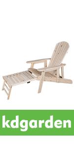 Cedar/Fir Log Wood Fanback Adirondack Chair with Pull-Out Ottoman