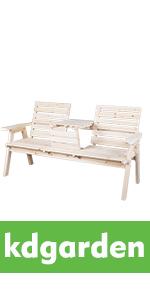 Cedar/Fir Log Wood Patio Garden Bench with Foldable Table