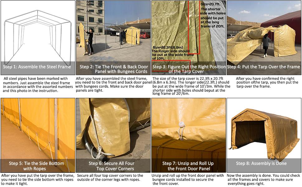 kdgarden 10 x 20-Feet Heavy Duty Carport Portable Garage ...