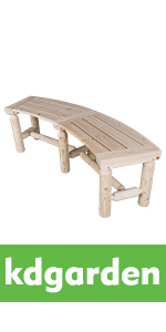 Outdoor Wooden Curved Backless Bench