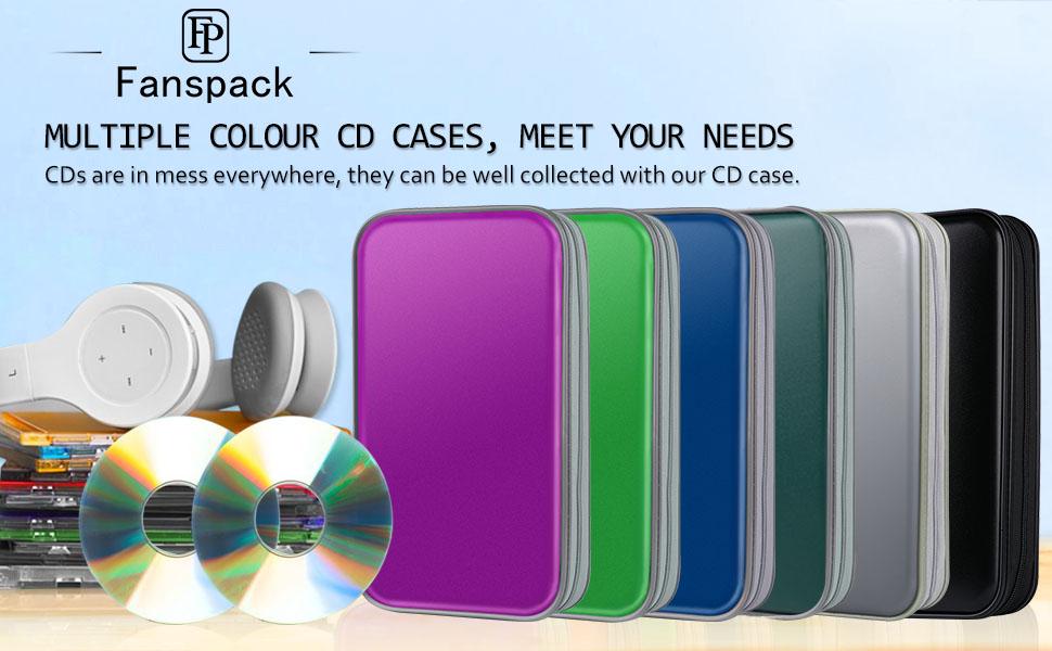 CD Case, Fanspack 80 Capacity DVD Case DVD Organizer CD Holder Case CD Storage Case Hard Plastic DVD CD Wallet (Dark Green)