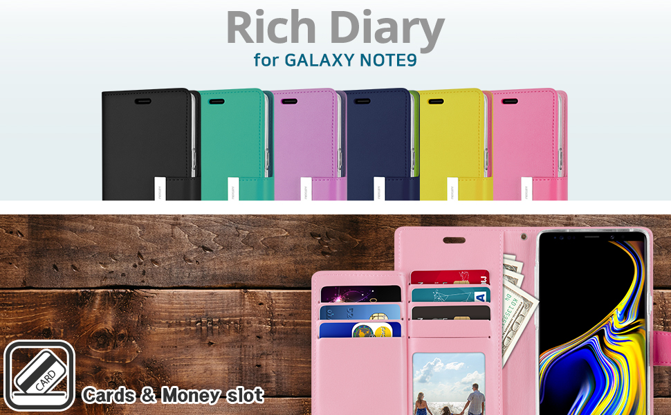 Galaxy Note 9 Wallet Case Rich Diary - 01