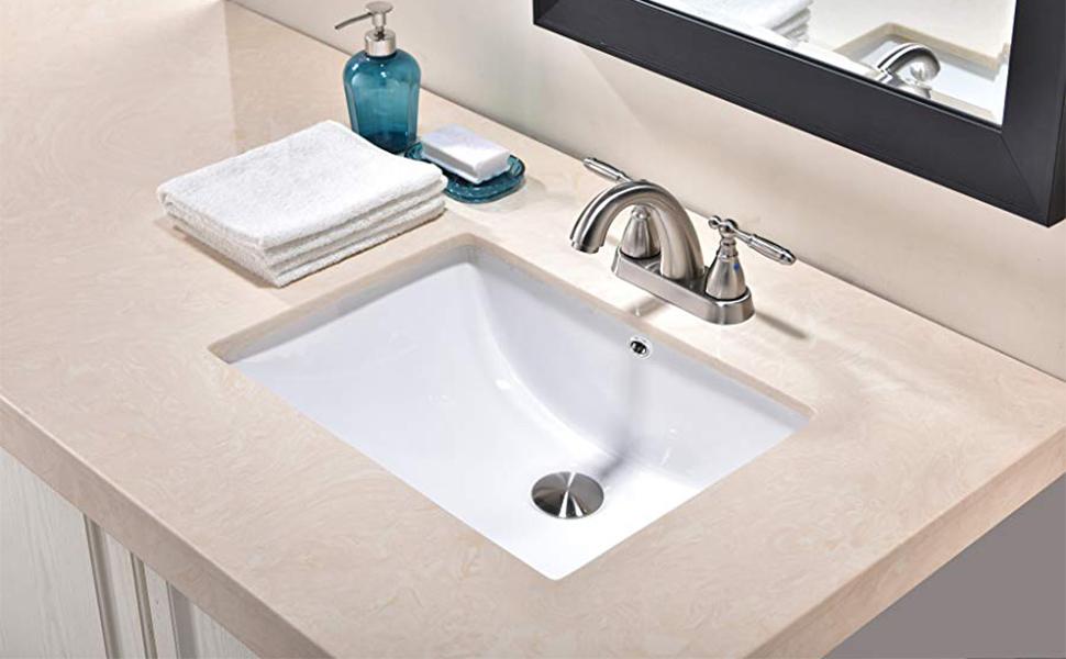 Friho 18 5 X13 8 X7 9 Modern Sleek Rectangular Undermount Vanity Sink Porcelain Ceramic Lavatory Bathroom Sink White With Overflow Amazon Com