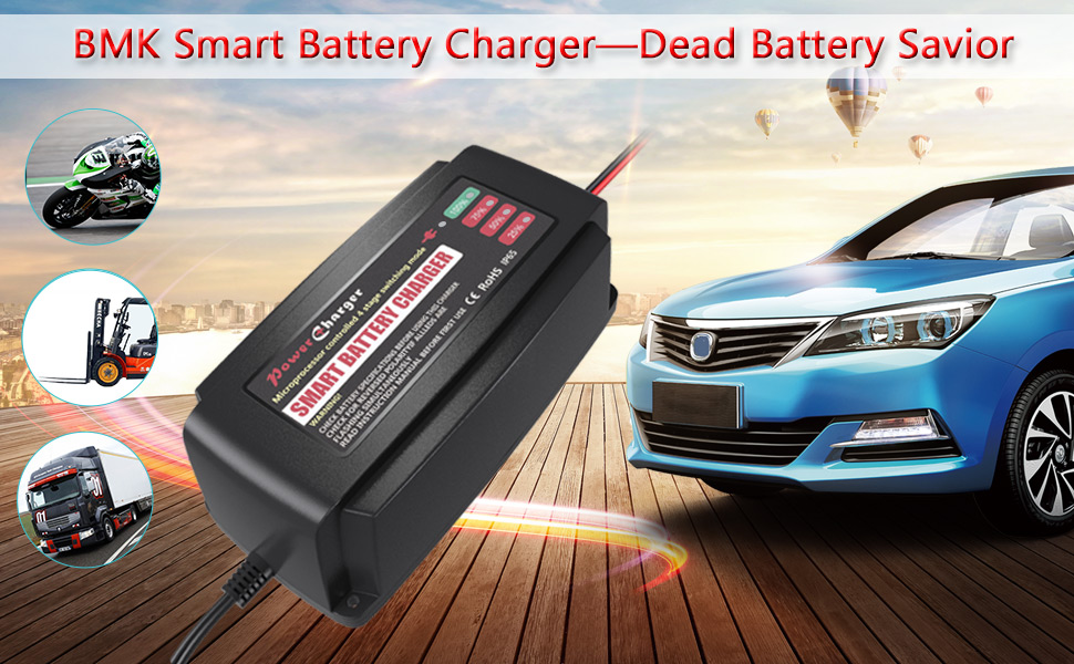 Amazon Com Bmk 12v 5a Smart Battery Charger Portable Battery