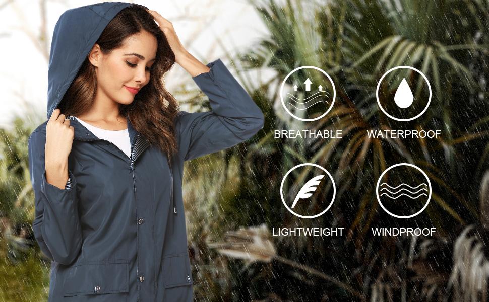 Outdoor Rain Jacket  Women's Lightweight Hooded Raincoat  Outdoor Trench Raincoat