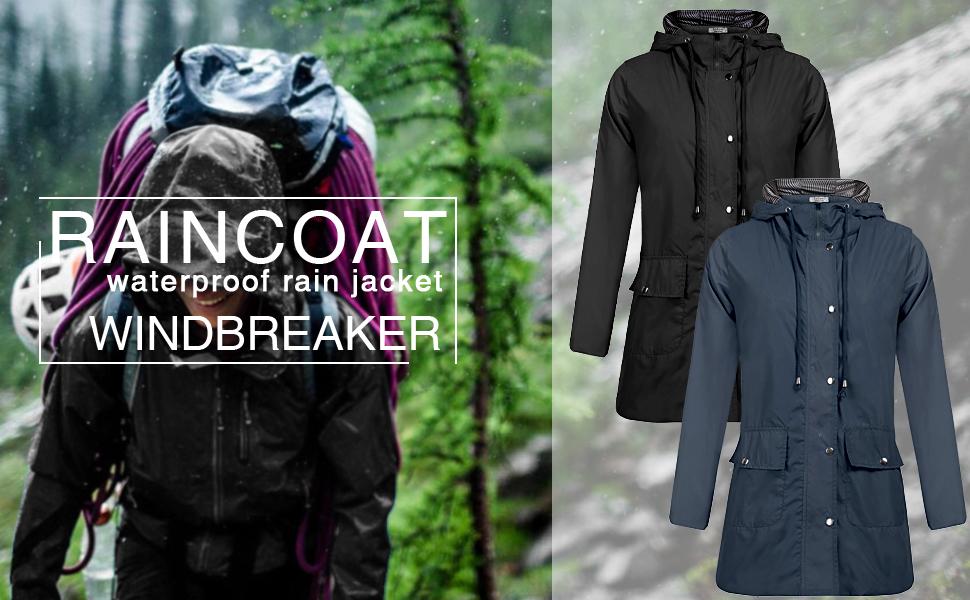 Waterproof Rain Jacket Women's Waterproof Raincoat Outdoor Hooded Waterproof Lightweight Rain Jacket