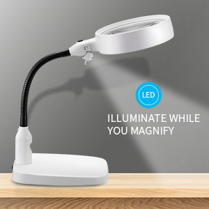 10x magnifying glass with light and stand