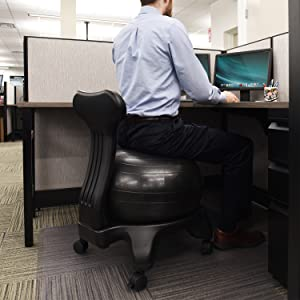Innovative Ball Chair Created by Leading Health Experts Improves Back u0026 Posture Inflated Design Builds Healthier Back Aligns Spine u0026 Relieves Back u0026 Lumbar ... & Amazon.com: Ivation Balance Exercise Ball Chair u2013 Office-Size 60mm ...