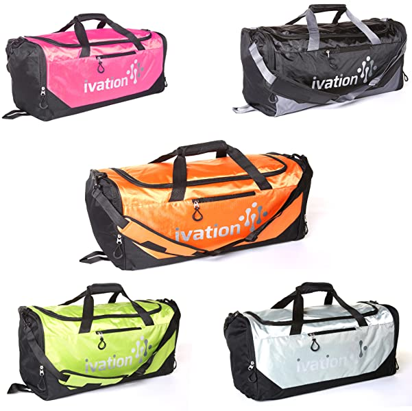 e5b7087483 Ivation Sports Gym Duffel Bag - 100% Water-Repellent Polyester - Ideal for  Gym
