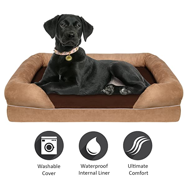 Amazon.com : Arf Pets Waterproof Bolster Dog Bed with 4