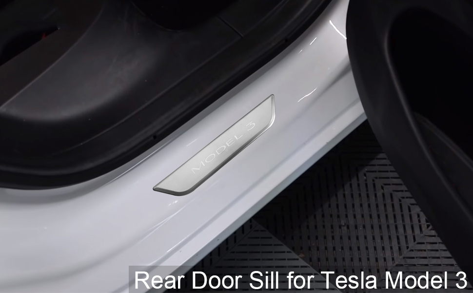 Set of 2 /– Black QHO AUTO Tesla Model 3 Accessories Stainless Steel Rear Door Sill Protector Plates