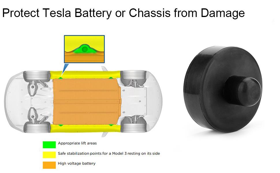 BASENOR Tesla Model 3 Jack Pad Pucks Jack Lift Pad Adapter Tool with Storage Bag Protects Battery /& Chassis