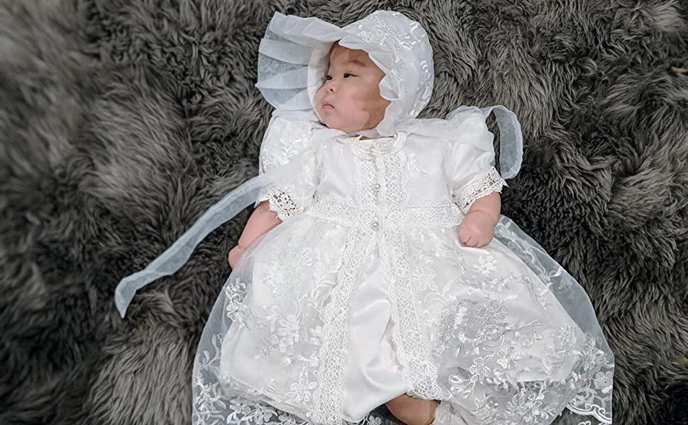 Baby & Toddler Clothing Infant Girl & Toddler Christening Baptism Formal Dress size:18 M-30 M White