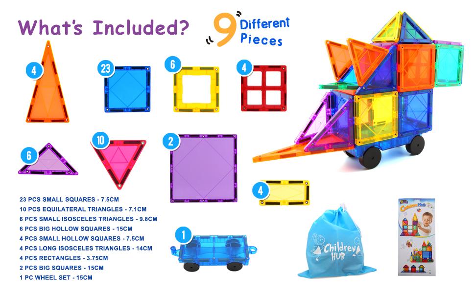 Children Hub Magnetic Building Tiles Set