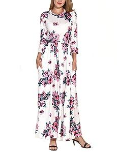 fe6437499b09 Amazon.com  Lavi Beauty Women s 3 4 Sleeve Floral Print Maxi Dress ...