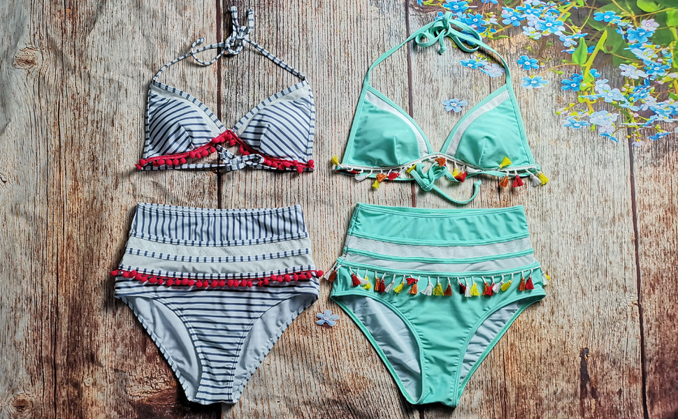 9b44cfcb79eba COCOSHIP Mesh Striped High Waist Bikini Set Pom Pom Tassel Trim Swimsuit