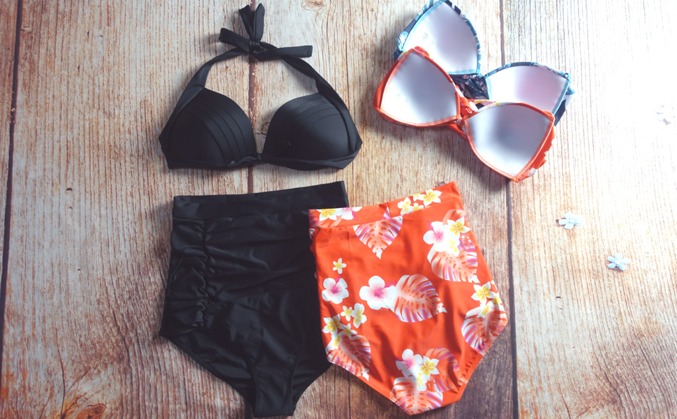 28b4d19b71 Cocoship Retro Polka Floral Print High Waist Bikini Halter Vintage Swimsuits